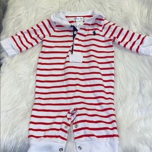 Ralph Lauren Baby Striped Cotton Coverall